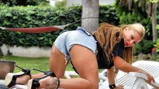 Mature latina touching herself by the pool  photo 03