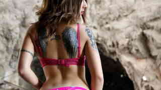 Hot young brunette Alexa Nasha doing a strip in a cave   photo 05