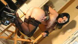 Ana Martin Black Chair Pornstar brunette with big boobs Ana Martin dancing and stripping with a black outfit
