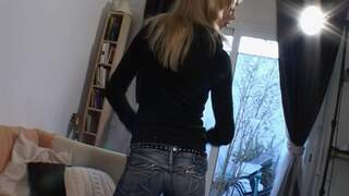 Nice blonde Aude removing clothes on t...photo 1