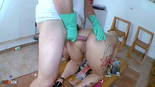 Horny big tited blonde gets a