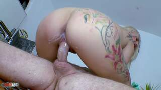 Horny big tited blonde gets a milk enema by the doctor   photo 12