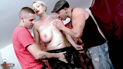 Leather lady for two horny guys in t...photo 1