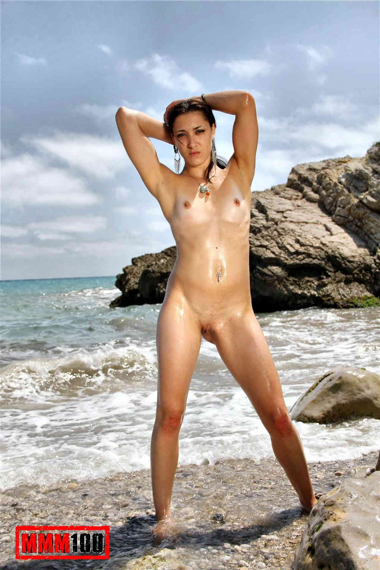 Hot Coralie Fever stripping on the beach
