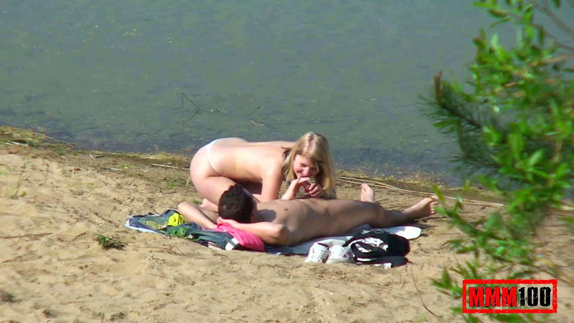 Something sex at the beach spying that