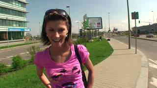 Brunette fucked on the roadsid
