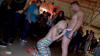 Public sex and impressive squirt in a spanish fair  photo 03