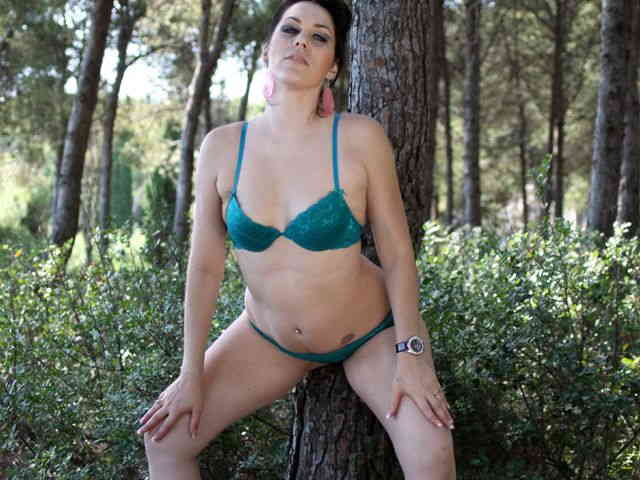 Horny brunette Erika Wolf getting naked in the woods   photo 07