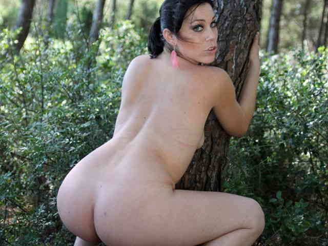 Horny brunette Erika Wolf getting naked in the woods   photo 15