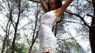Pornstar brunette Francys Belle doing a strip in the woods   photo 03