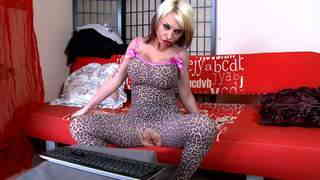 Pretty blonde with big boobs Gina Snake doing a strip alone on her webcam   photo 05