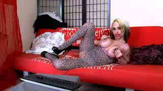 Pretty blonde with big boobs Gina Snake doing a strip alone on her webcam   photo 10