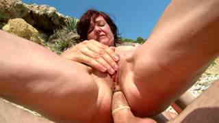 Hot French MILF on a sunny beach  photo 13