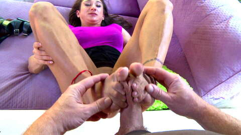Muscle girl giving a footjob to an old...photo 1