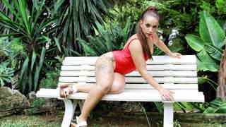 Horny teen Kiihara Strong doing a hot striptease in the jungle   photo 07