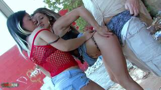 Public outdoor threesome with
