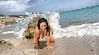 Hot Lulu Pretel removing clothes on the beach   photo 02