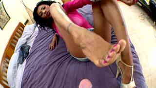 Hot brazilian Milf doing footjob  photo 09