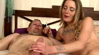 Smoking and giving a blowjob  photo 02