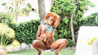 Horny black Naomi Lionness getting naked next to the pool   photo 10