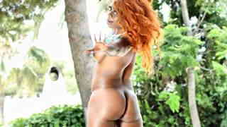 Horny black Naomi Lionness getting naked next to the pool   photo 11