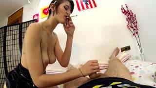 Cute young teen doing handjob and blowjob while smoking  photo 01