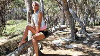 Great blonde Nicky Wayne dancing and stripping in the woods   photo 01