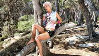 Great blonde Nicky Wayne dancing and stripping in the woods   photo 02