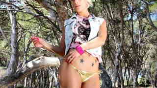 Great blonde Nicky Wayne dancing and stripping in the woods   photo 05