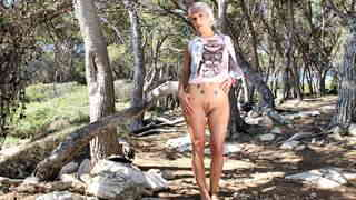 Great blonde Nicky Wayne dancing and stripping in the woods   photo 06