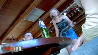 Cute waitress assfucked by 2 bruts photo 1