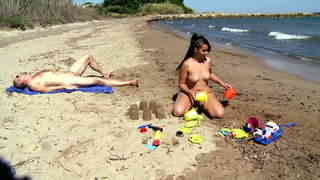 Young teeny girl playing naked on the beach  photo 07