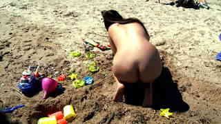 Young teeny girl playing naked on the beach  photo 09
