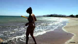 Young teeny girl playing naked on the beach  photo 15