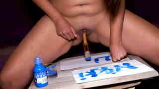 Cute young latina girl painting her name with her pussy  photo 10