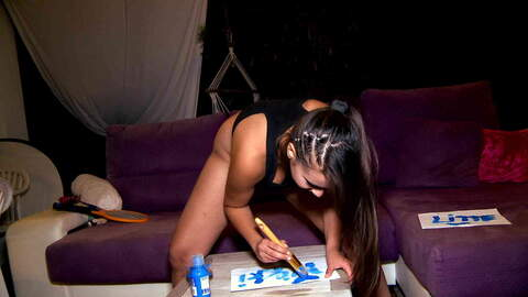 Cute young latina girl painting her na...photo 4