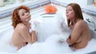 Young lesbian sluts playing anal dildo in the tub  photo 06