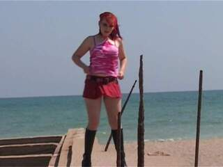 Sabrina Sweet Bridge Sexy red hair babe nude on this boat