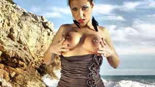 Silvana Rodriguez Beach Silvana between water and rocks