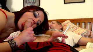 Hot milf in tight pants giving blowjob to her spoiled man  photo 07