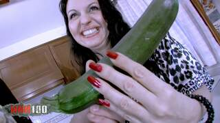 Mature whore fucked with vegetables in...