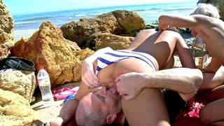 Anal threesome with two hot sluts on a public beach  photo 06