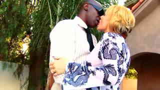 Big black cock for mature blond slut  photo 01