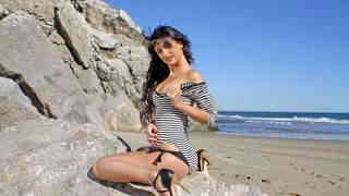 Great little with big tits Susi Gala dancing and stripping by the sea   photo 03