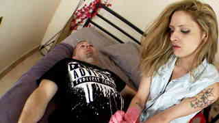 Blonde slut giving handjob with plastic gloves  photo 01