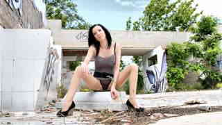 Pretty brunette Tania Kiss getting nak...photo 3