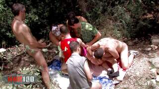 Gang bang in the woods with Tania Teenphoto 1