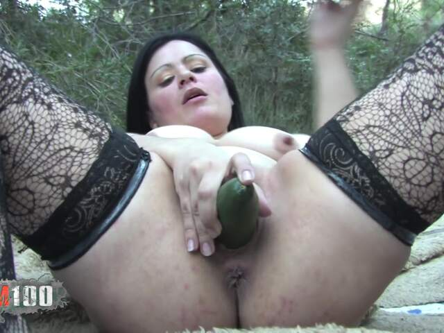 A chck introduce veggies in her pussy before fisting herself  photo 04