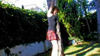 Tied Girl peeing her white coton panties  photo 02